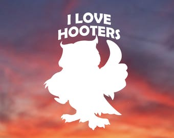Owl, I Love Hooters, Funny Birders Vinyl Sticker, Vinyl Decal for Car, Window, Computer, and more