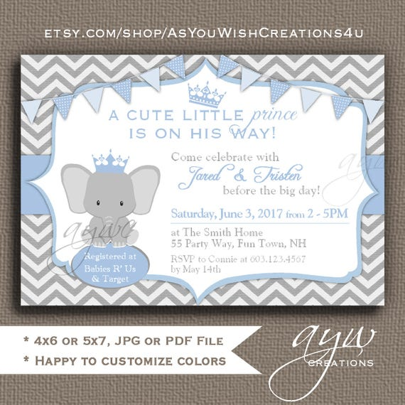 Elephant baby shower invitations boys elephant baby shower like this item filmwisefo Image collections