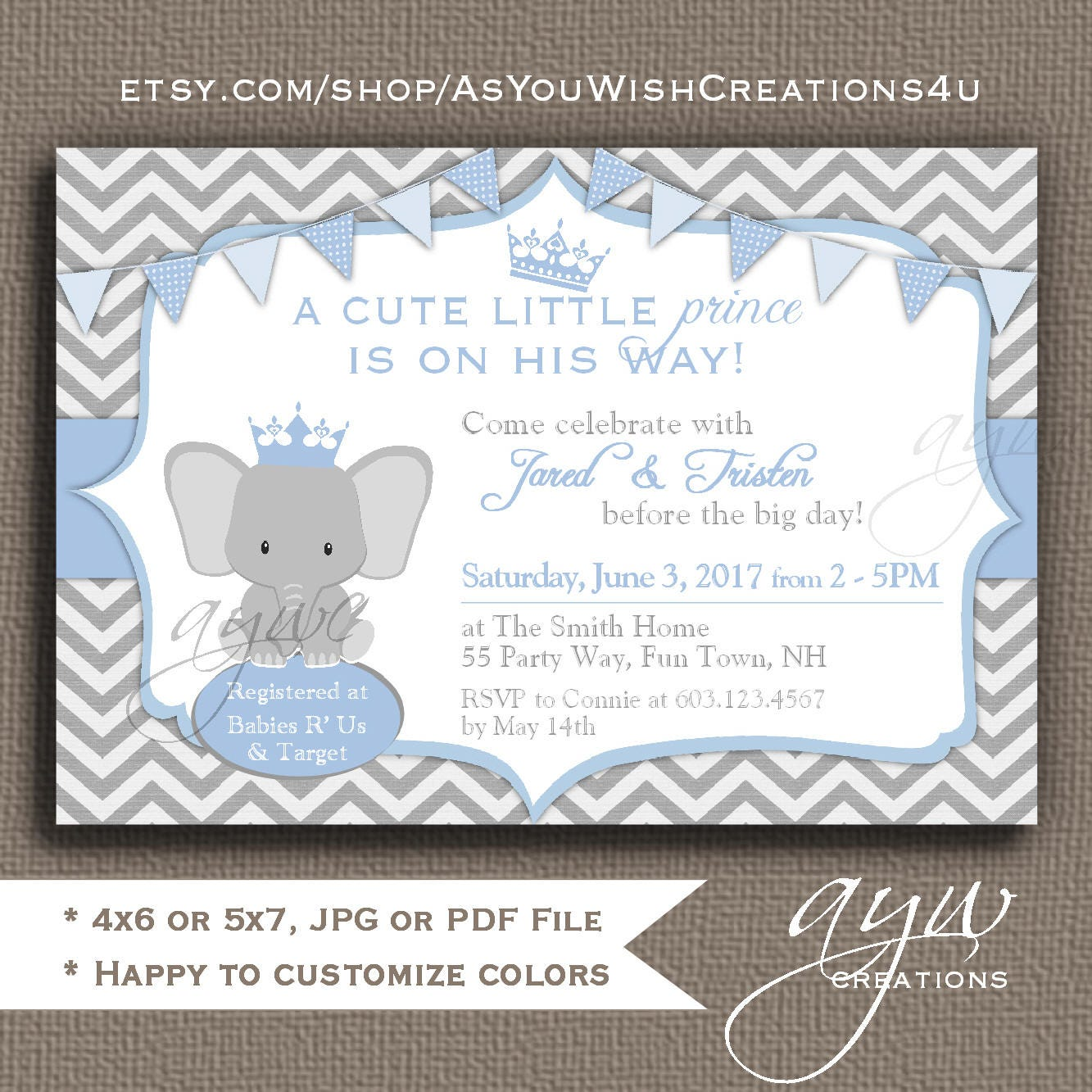 Elephant Baby Shower Invitations Boys Elephant Baby Shower