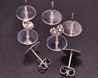 White K Earring Studs--50 pairs 10mm Flat Pad Blank ,White K Earring Post With Back Stoppers Earnuts,10x12mm