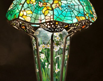 Bedside lamp, Living Room Decor, Lamp, Tiffany lamp, Desk lamp, Mosaic lamp base, Tiffany Cobweb, Tiffany replica, Stained glass