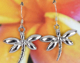 Dragonfly Earring, Sterling Silver Hawaiian Dragonfly Dangle Earring, E4248, Birthday Anniversary Bridal Bride Wedding Gift, Mother Day Gift