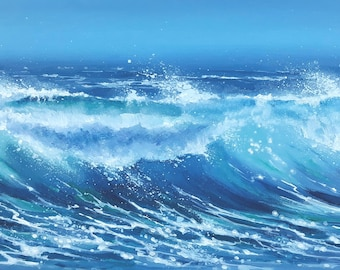 Stormy Seas - Original Acrylic Seascape - Surf Art