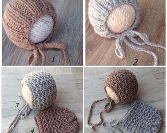 Knit Newborn bonnet,Brushed alpaca knit bonnet, Knit Wool newborn hat, Knit hat ,Photo prop ,Christening ,Photography prop, RTS