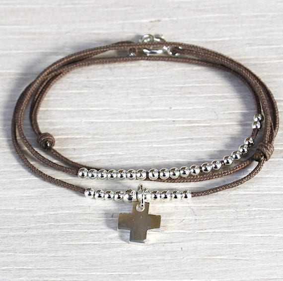 cord bracelet three laps beads and 925 sterling silver cross
