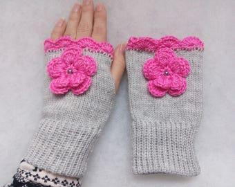 Free Shipping - Grey with Pink Flower Fingerless gloves,