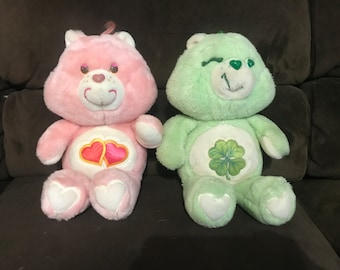Vintage Plush 80s Love-a-Lot and Good Luck Care Bear by Kenner 1983 American Greetings