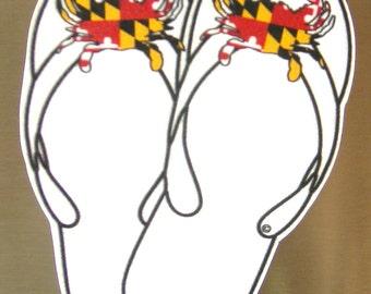 Crab Flip Flops, Magnet with Maryland Crab Flag
