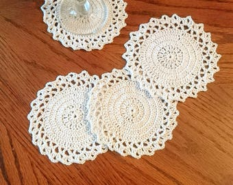 Crochet cup & glass round coasters  gift doily table mat