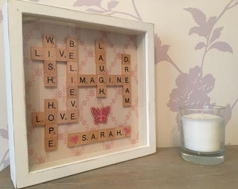Scrabble words frame,  inspirational words, motivational words, positivity gift, mindfulness quote, gift for mindfulness
