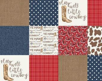 Little Cowboy Minky Blanket - Faux Quilt - Designer Minky - Boy Minky Blanket - Baby Boy Blanket - Cowboy Baby Bedding - Baby Blanket - Farm