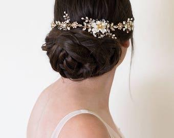 Bridal headpiece, Wedding Headpiece, Wedding Accessories, Bridal Hair Vine, Floral bridal Headpiece,  | GEORGIA