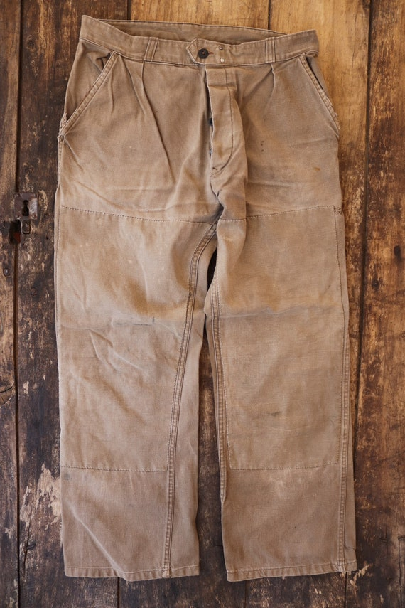"""Vintage 1960s 60s tan brown french cotton canvas denim hunting work trousers pants workwear 32"""" x 29"""" button fly"""