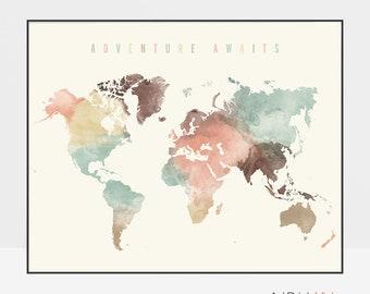 Adventure awaits, World map art, Large Travel map, World map wall art watercolor print, Gift decor, pastel, Home Decor, ArtPrintsVicky