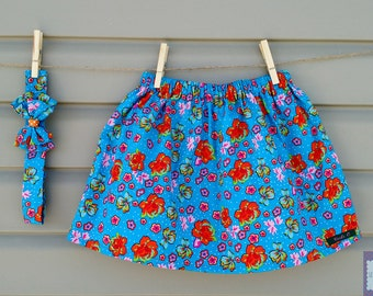 READY-to-go/READYTOGO - skirt and headband - set - turquoise Hawaiian flowers (baby and toddler) girl