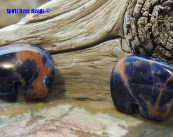 Blue Zuni Bears  PEACH Sodalite Gemstone for Earrings and Accent 1 pair