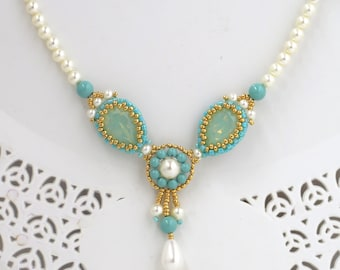 Unique necklaces for women, Turquoise and pearl swarovski crystal necklace, Turquoise bridal jewelry, Teardrop necklace, Beaded jewelry