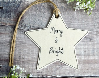Merry and Bright Christmas star,  Merry and Bright star decoration, Christmas star ornament, hanging star, personalised Christmas star