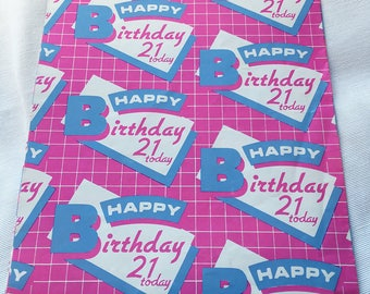 Vintage | 21st | Retro | Birthday | Wrapping Paper | Sheet #2