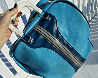 Vintage Bowling Bag | Aqua Blue Pleather Retro Navy Stripes | EXCELLENT Overall | Rockabilly Inverted Bowling Bag