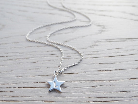 Tiny Silver Star Necklace With Initial, Personalised, Sterling Silver