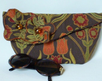 Clutch Purse in Brown and Orange Tudor Rose Fabric
