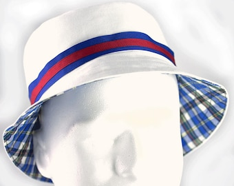 White Reversible Cotton Bucket Hat | Custom Team Colors | Solid & Plaid | Sports Golf Hat Mens Womens XS to XXL
