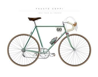 Fausto Coppi Bianchi Bike print from 1952 tour de France