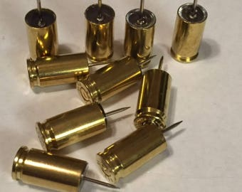 Push Pins made from 9mm Brass casings