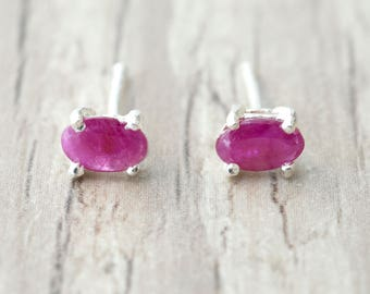 Red Ruby Tiny Stud Earrings, Red Natural Ruby Gemstone Earrings, Minimalist Sterling Silver Unisex Studs, Everyday Earrings for Men