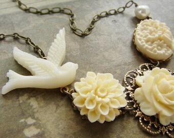 Bridal necklace, Ivory rose wedding jewelry, dove bird floral jewelry wedding necklace