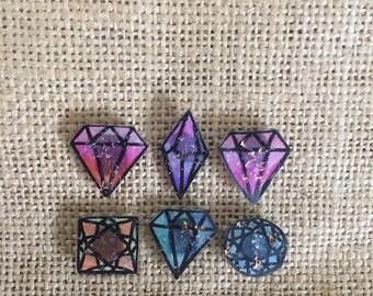 Diamond shaped magnets set, sets of 6, magnet for boards, fridge