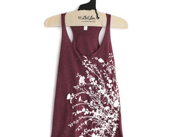 XL- Tri-Blend Maroon Racerback Tank with Flowering Branch Screen Print