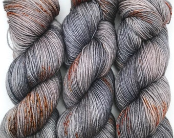 "Hand Dyed Yarn ""Dusty Rusty Denim"" Blue Navy Grey Brown Rust Copper Polwarth Fingering Superwash 438yds 100g"