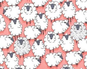 Michael Miller Eyes On Ewe Sheepish Geranium fabric - 1 yard