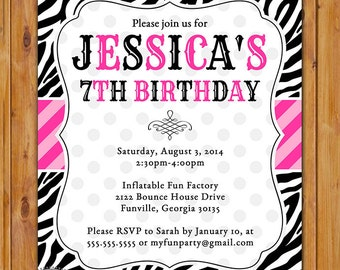 Animal print birthday party invitation cheetah zebra invite pink and black zebra print birthday party invitation diy polka dots invite girls 7th 8th 9th 13th animal print 5x7 digital jpg file 310 stopboris Image collections