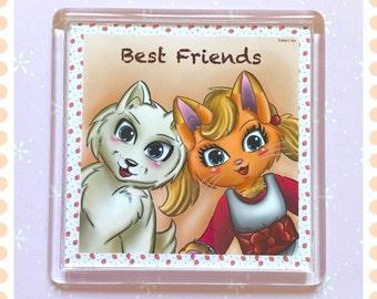 Square magnet , Kawaii magnet , cat magnet , dog magnet , best friend magnet , cute magnet , fridge magnet, animal magnet , cartoon magnet ,