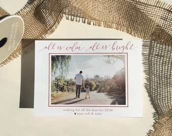 all is calm, all is bright holiday photo christmas card | handlettered calligraphy card