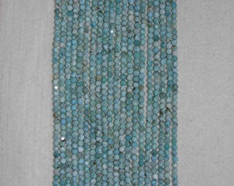 Larimar, Larimar Bead, 4 mm, Faceted Bead, Natural Stone, Semi Precious Bead, Gemstone Bead, Sparkle Bead, Full Strand, AdrianasBeads