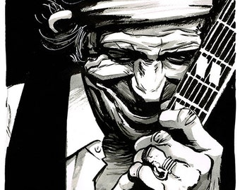 Keith Richards portrait original ink drawing The Rolling Stones Keef
