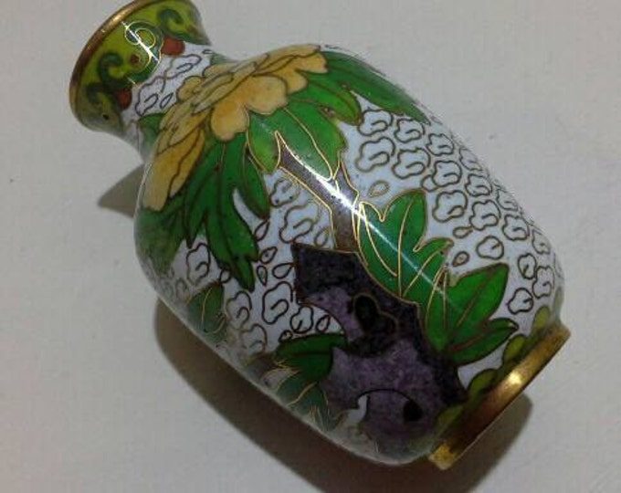 Vintage Miniature Chinese Cloisonne Vase Man Under A Tree Brass And Enamel