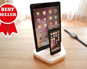iphone and iPad docking station - charging station for ipad and iphone -apple wooden dock and organizer in white make a great gift for her