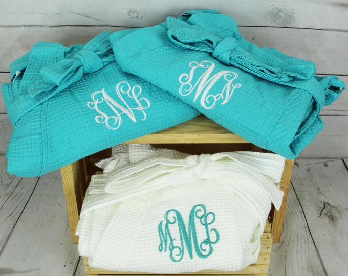 8 Personalized Bridesmaid Robe, Set of 8 ,Monogrammed Robe, Waffle Robes, Personalized Bridesmaids Gifts