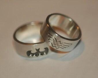 WONDER WOMAN Sterling Silver Ring, Super Hero ring