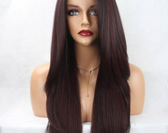 Long Layered Straight Black/Plum Streaks Lace Front Premium Fiber Lace Front Wig