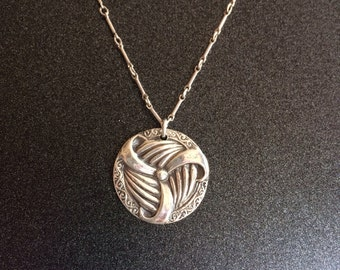 Fine Silver wave necklace, Silver PMC Necklace, Pendant Necklace