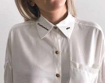 F*ck Off Embroidered Collar Shirt | Embroidered Shirt | Oversized Shirt |  Personalized Shirt