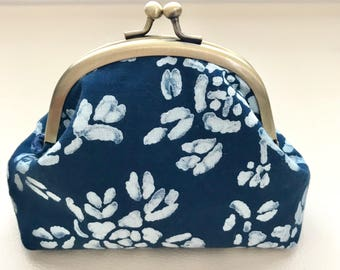 Floral navy gamaguchi, Metal frame pouch, Kiss lock frame, Cosmetic bag, Toiletry bag, Bag in bag, Japanese gift idea, One of a kind gift