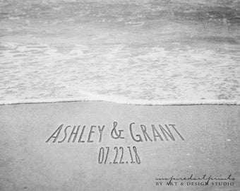 Message in Sand, Names in Sand Personalized Photo, Boho Decor, Beach Wedding, Destination Wedding, Engagement Gift, Sand Writing, Beach Art