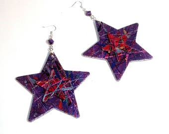 Majestic Stars Handpainted Wood Earrings